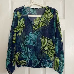 H&M Blue & Green Sheer Long Sleeve Blouse